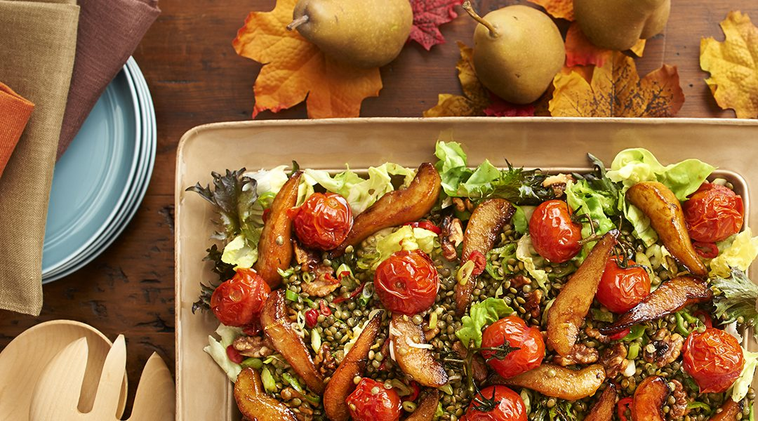 Caramelized Pear, Roasted Tomato and Lentil Salad