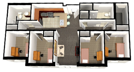 Belk Hall 4-person / 4-bedroom Apartment layout